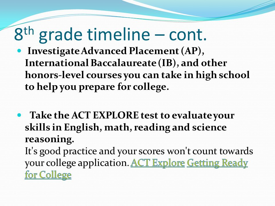 8 th grade timeline – cont.