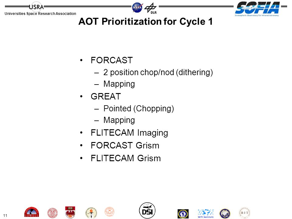 11 Universities Space Research Association AOT Prioritization for Cycle 1 FORCAST –2 position chop/nod (dithering) –Mapping GREAT –Pointed (Chopping) –Mapping FLITECAM Imaging FORCAST Grism FLITECAM Grism