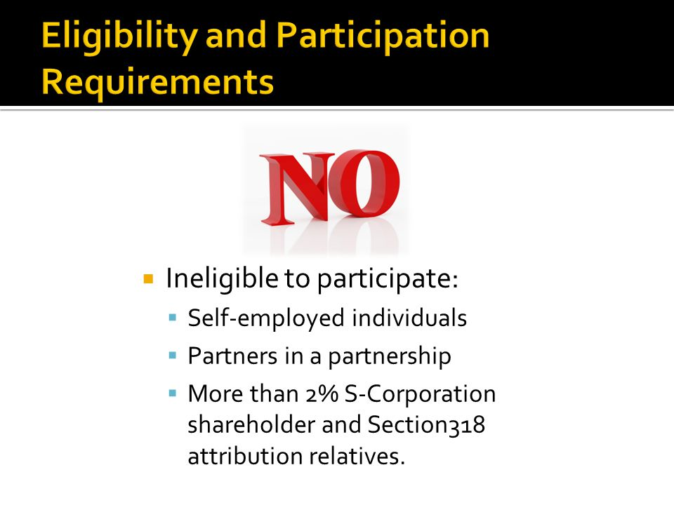 Ineligible to participate: Self-employed individuals Partners in a partnership More than 2% S-Corporation shareholder and Section318 attribution relatives.