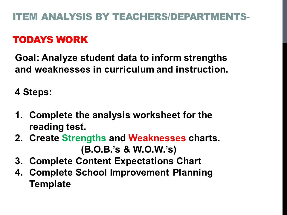 ITEM ANALYSIS BY TEACHERS/DEPARTMENTS- TODAYS WORK Goal: Analyze student data to inform strengths and weaknesses in curriculum and instruction.