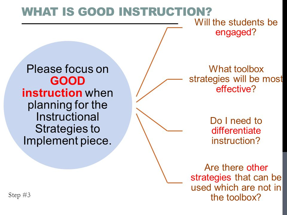 Please focus on GOOD instruction when planning for the Instructional Strategies to Implement piece.