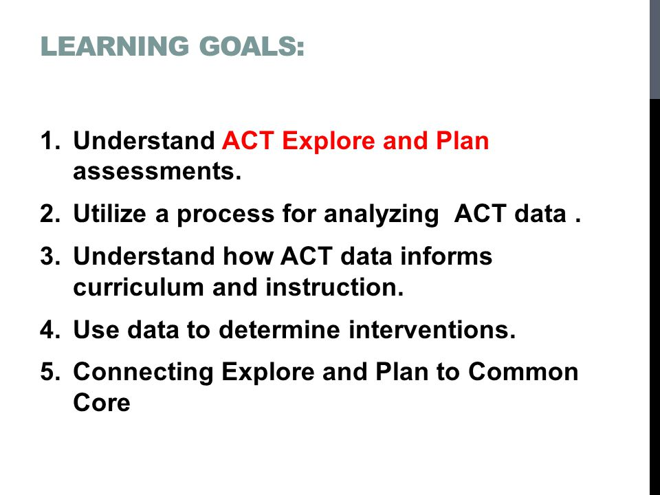 LEARNING GOALS: 1.Understand ACT Explore and Plan assessments.