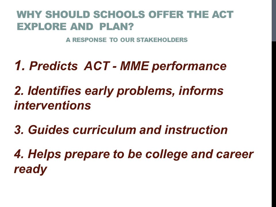 WHY SHOULD SCHOOLS OFFER THE ACT EXPLORE AND PLAN.