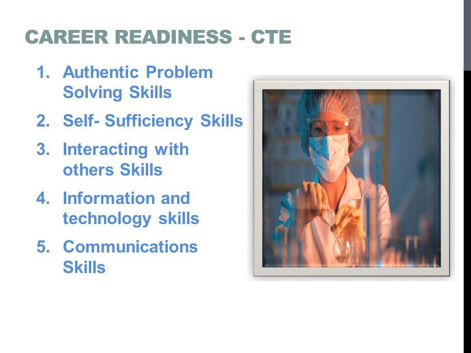 CAREER READINESS - CTE 1.Authentic Problem Solving Skills 2.Self- Sufficiency Skills 3.Interacting with others Skills 4.Information and technology skills 5.Communications Skills