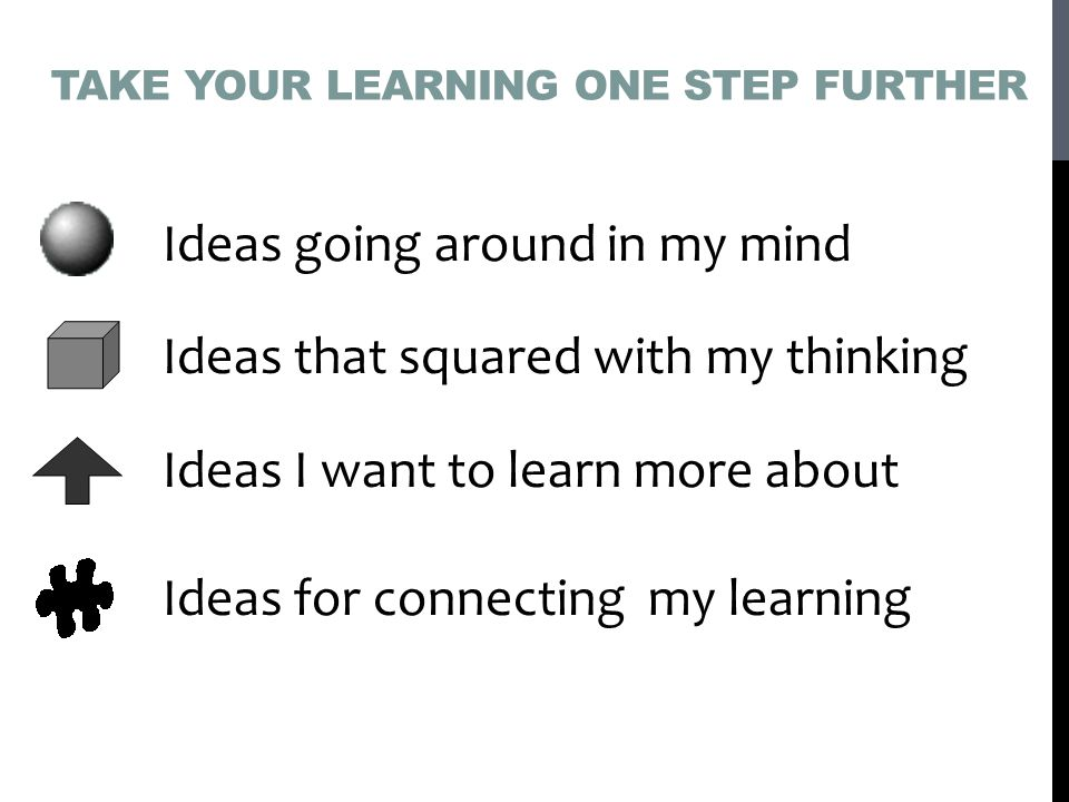 TAKE YOUR LEARNING ONE STEP FURTHER Ideas going around in my mind Ideas that squared with my thinking Ideas I want to learn more about Ideas for connecting my learning