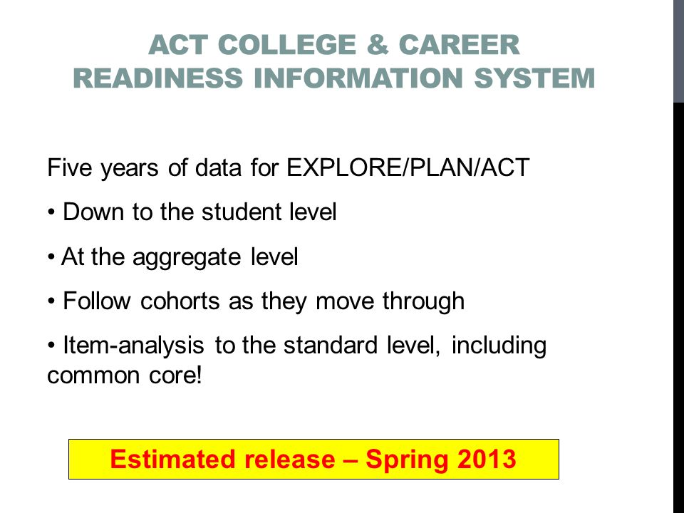 ACT COLLEGE & CAREER READINESS INFORMATION SYSTEM Five years of data for EXPLORE/PLAN/ACT Down to the student level At the aggregate level Follow cohorts as they move through Item-analysis to the standard level, including common core.