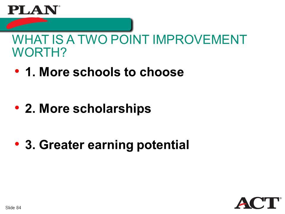 Slide 84 1.More schools to choose 2. More scholarships 3.