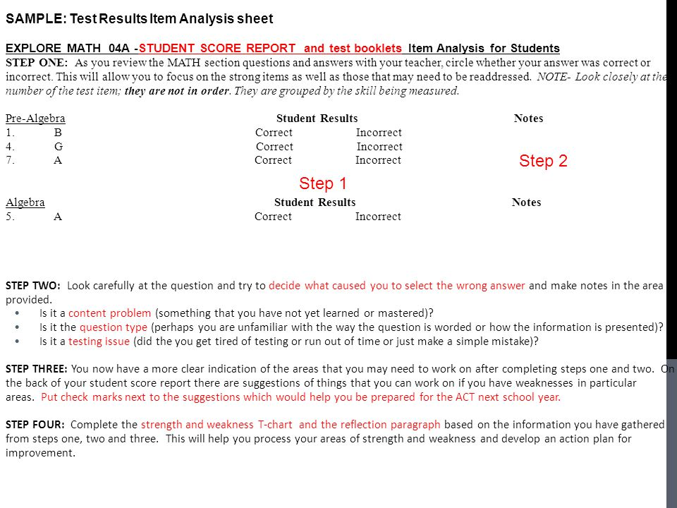 SAMPLE: Test Results Item Analysis sheet EXPLORE MATH 04A -STUDENT SCORE REPORT and test booklets Item Analysis for Students STEP ONE: As you review the MATH section questions and answers with your teacher, circle whether your answer was correct or incorrect.