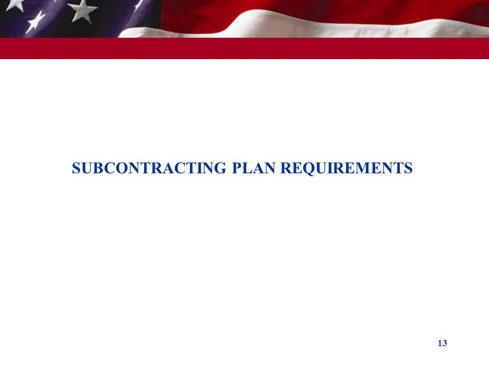 13 SUBCONTRACTING PLAN REQUIREMENTS