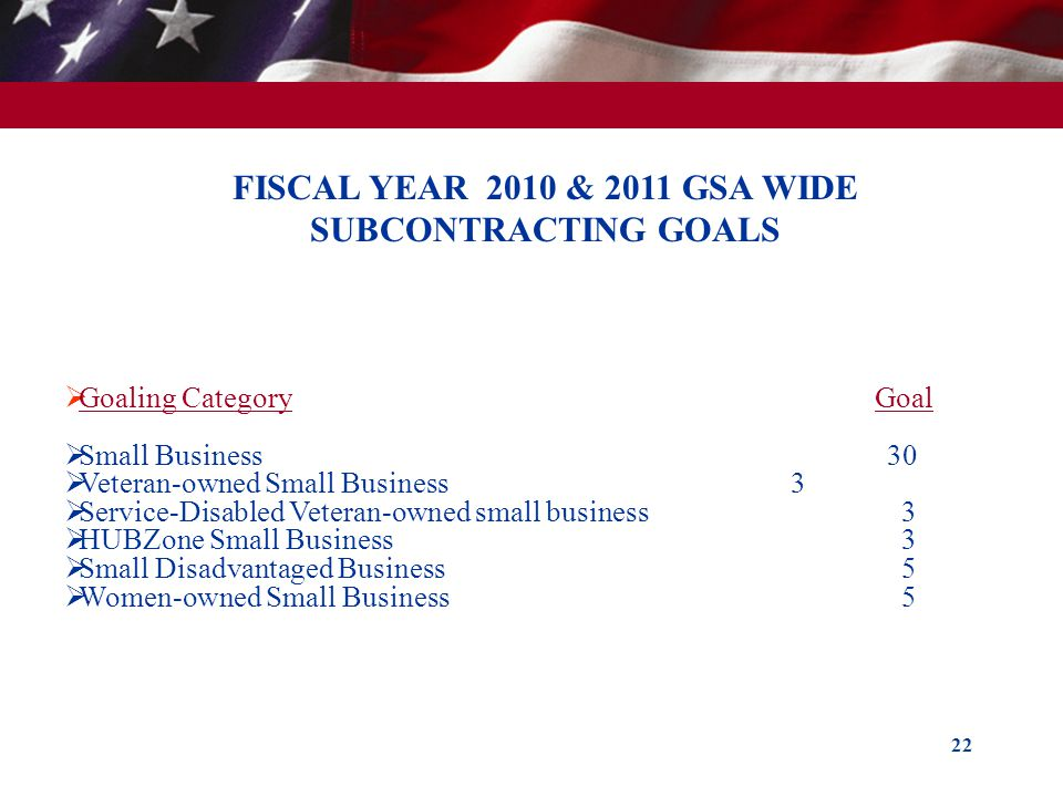 22 FISCAL YEAR 2010 & 2011 GSA WIDE SUBCONTRACTING GOALS Goaling Category Goal Small Business 30 Veteran-owned Small Business 3 Service-Disabled Veter