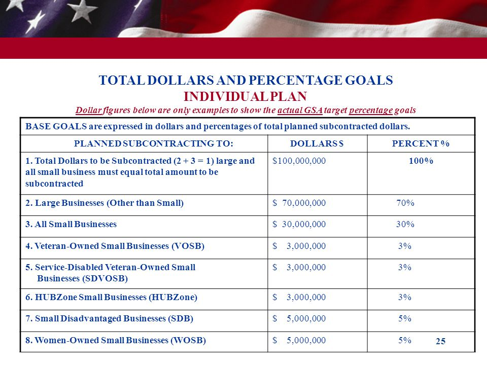 25 TOTAL DOLLARS AND PERCENTAGE GOALS INDIVIDUAL PLAN Dollar figures below are only examples to show the actual GSA target percentage goals BASE GOALS