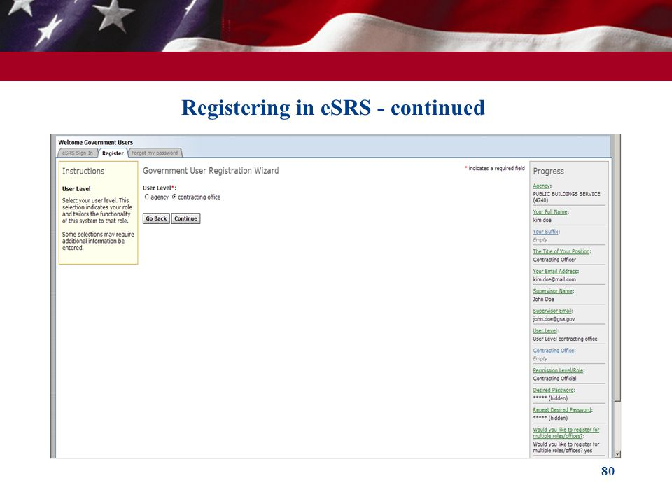 80 Registering in eSRS - continued