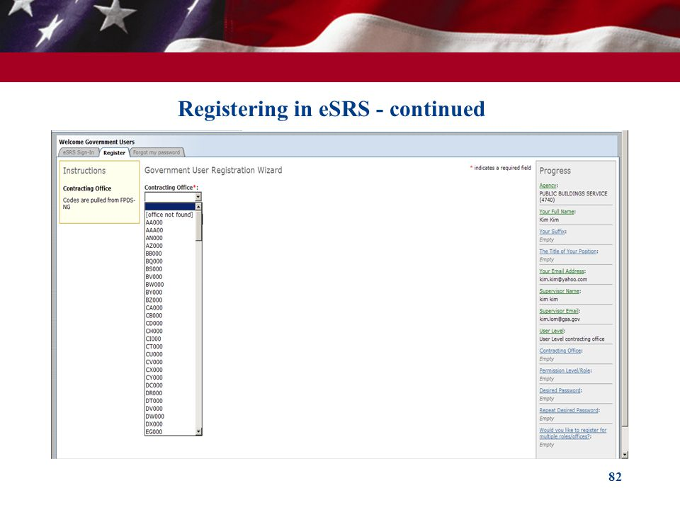 82 Registering in eSRS - continued