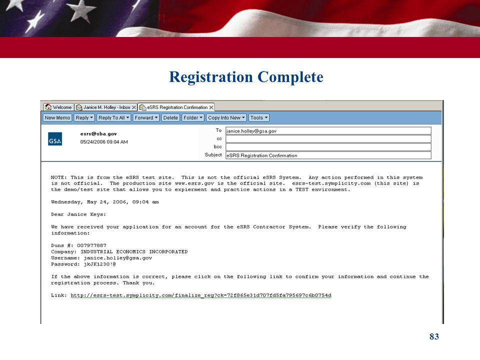 83 Registration Complete