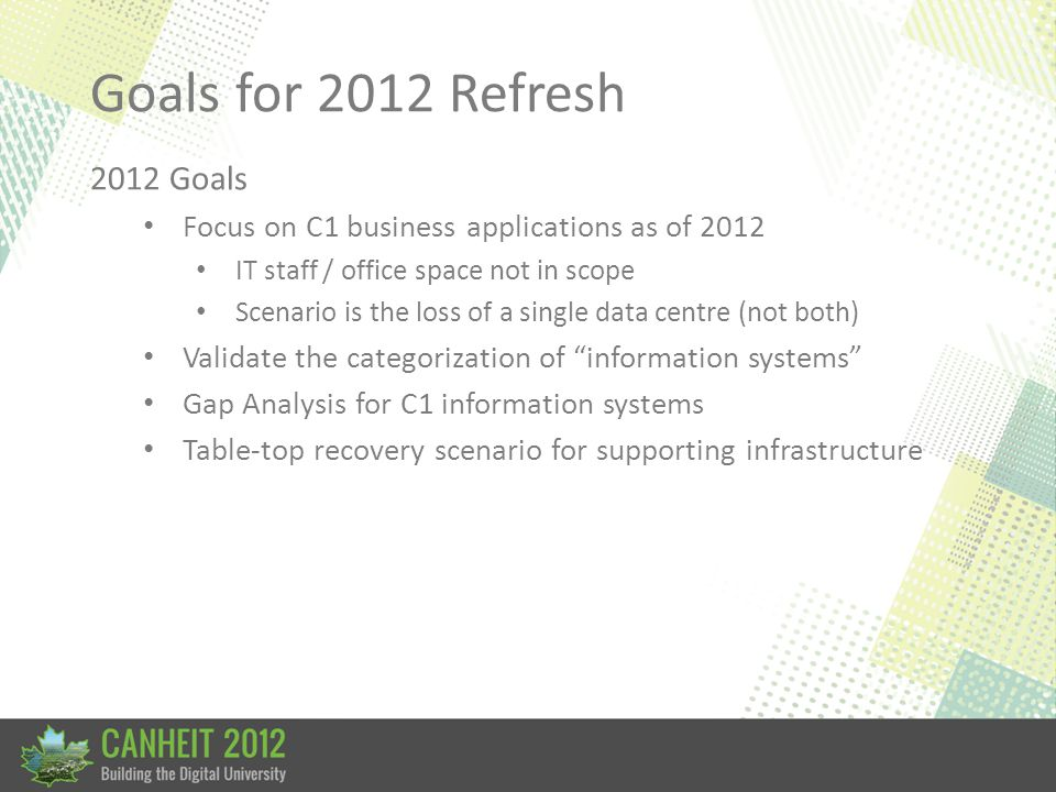 Goals for 2012 Refresh 2012 Goals Focus on C1 business applications as of 2012 IT staff / office space not in scope Scenario is the loss of a single data centre (not both) Validate the categorization of information systems Gap Analysis for C1 information systems Table-top recovery scenario for supporting infrastructure