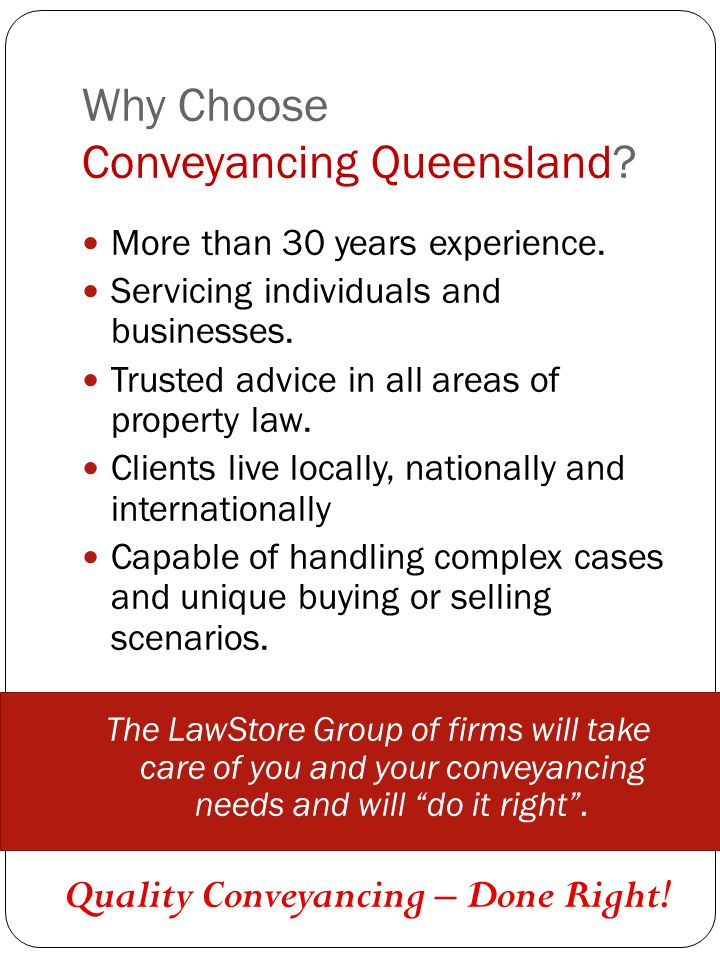 Why Choose Conveyancing Queensland? More than 30 years experience. Servicing individuals and businesses. Trusted advice in all areas of property law.