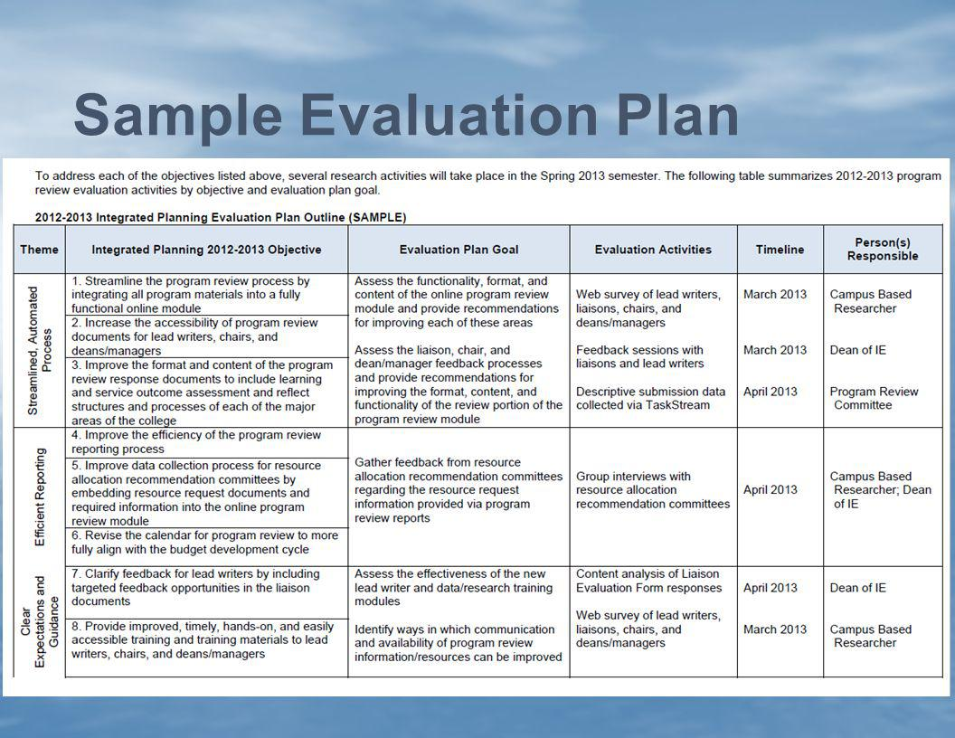 Sample Evaluation Plan