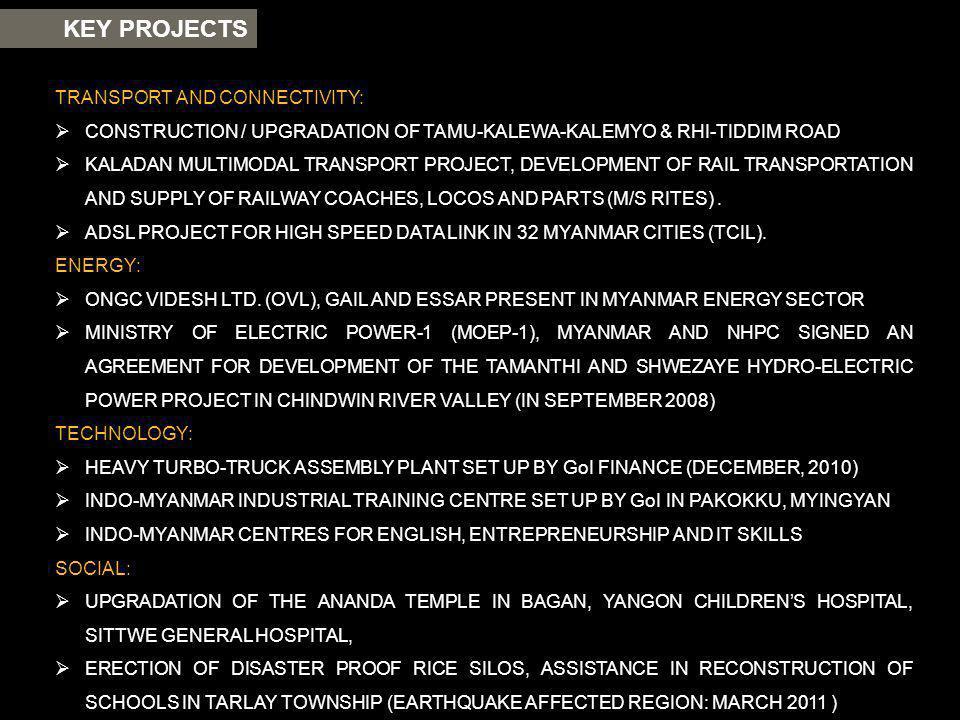 KEY PROJECTS TRANSPORT AND CONNECTIVITY: CONSTRUCTION / UPGRADATION OF TAMU-KALEWA-KALEMYO & RHI-TIDDIM ROAD KALADAN MULTIMODAL TRANSPORT PROJECT, DEV