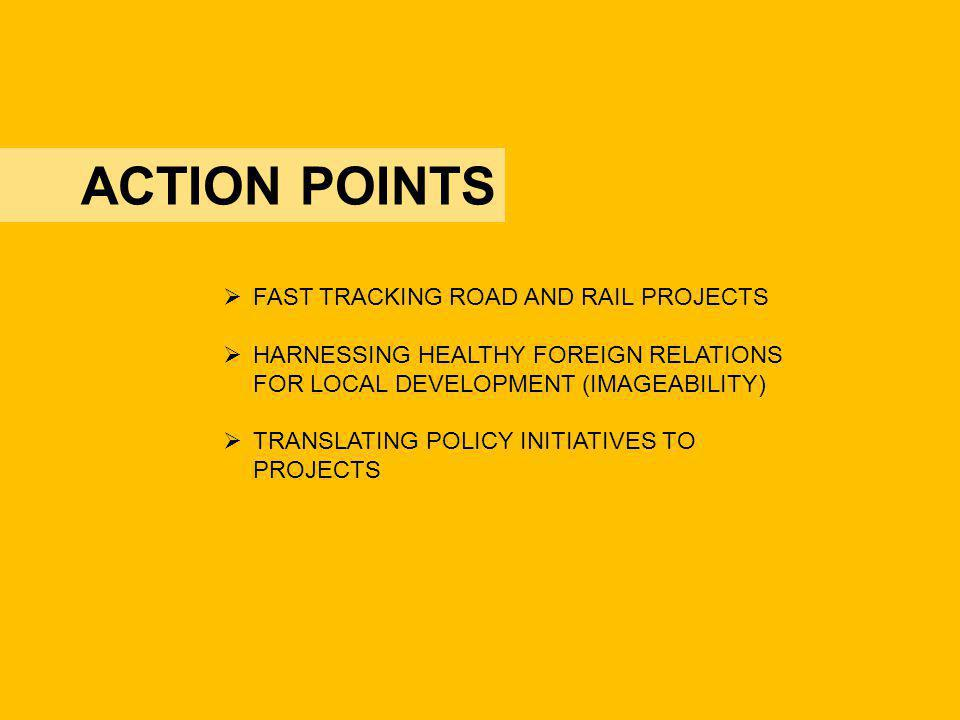 ACTION POINTS FAST TRACKING ROAD AND RAIL PROJECTS HARNESSING HEALTHY FOREIGN RELATIONS FOR LOCAL DEVELOPMENT (IMAGEABILITY) TRANSLATING POLICY INITIA