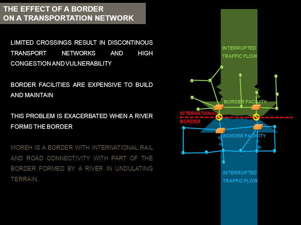 THE EFFECT OF A BORDER ON A TRANSPORTATION NETWORK LIMITED CROSSINGS RESULT IN DISCONTINOUS TRANSPORT NETWORKS AND HIGH CONGESTION AND VULNERABILITY B