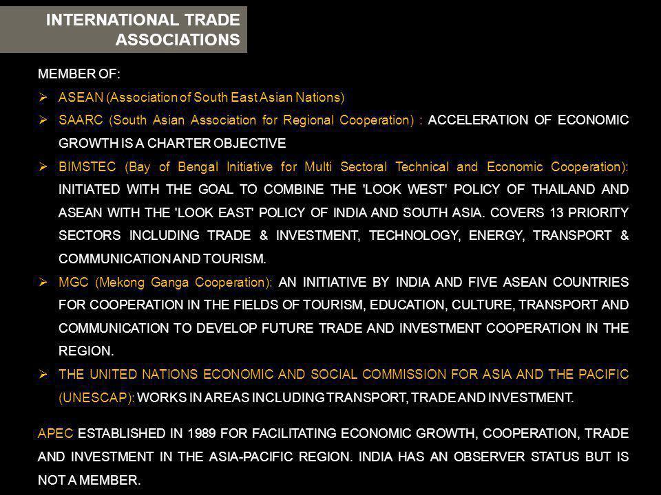 INTERNATIONAL TRADE ASSOCIATIONS MEMBER OF: ASEAN (Association of South East Asian Nations) SAARC (South Asian Association for Regional Cooperation) :