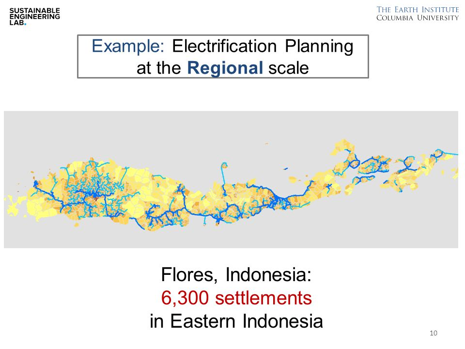 Example: Electrification Planning at the Regional scale Flores, Indonesia: 6,300 settlements in Eastern Indonesia 10