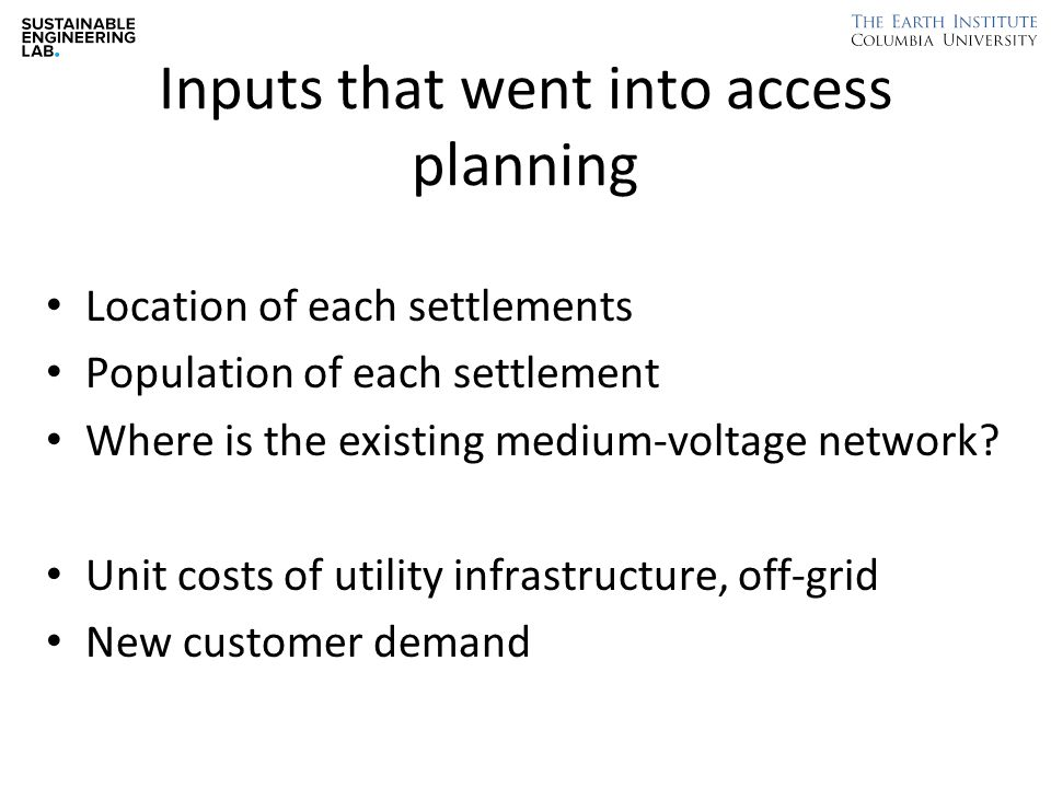 Inputs that went into access planning Location of each settlements Population of each settlement Where is the existing medium-voltage network.