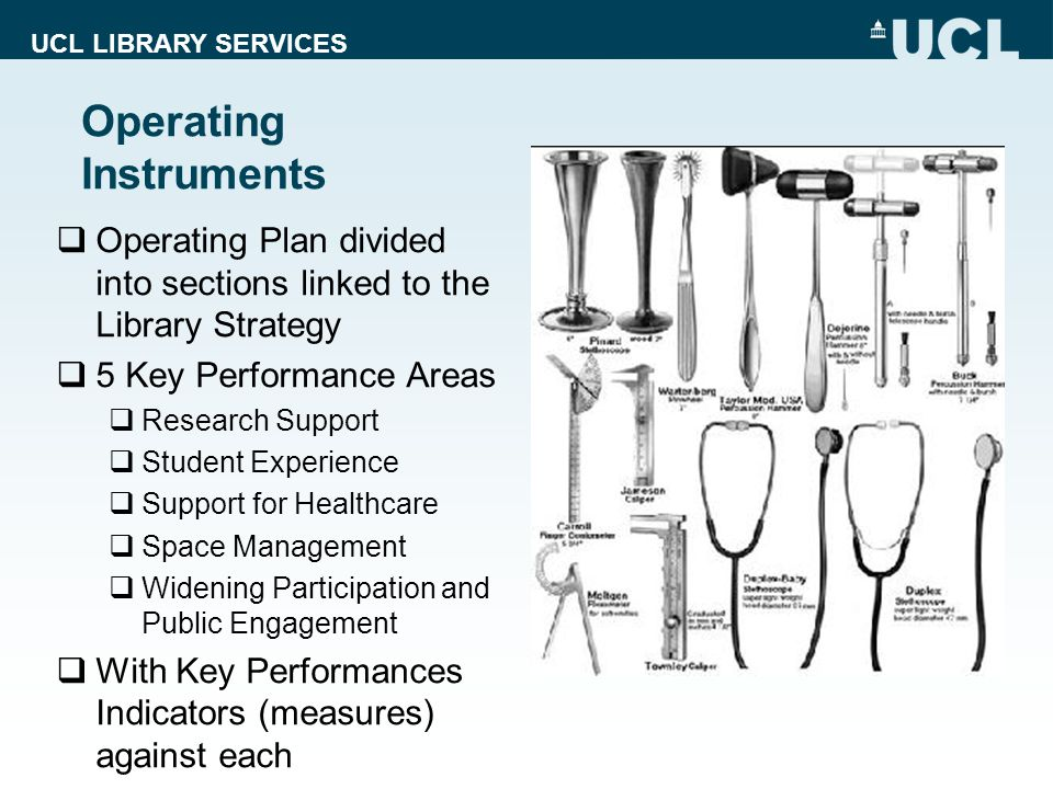 UCL LIBRARY SERVICES Operating Instruments Operating Plan divided into sections linked to the Library Strategy 5 Key Performance Areas Research Support Student Experience Support for Healthcare Space Management Widening Participation and Public Engagement With Key Performances Indicators (measures) against each