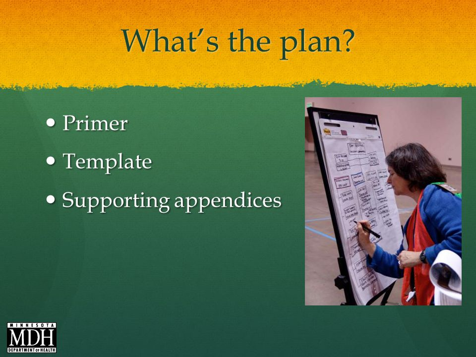 Whats the plan Primer Primer Template Template Supporting appendices Supporting appendices