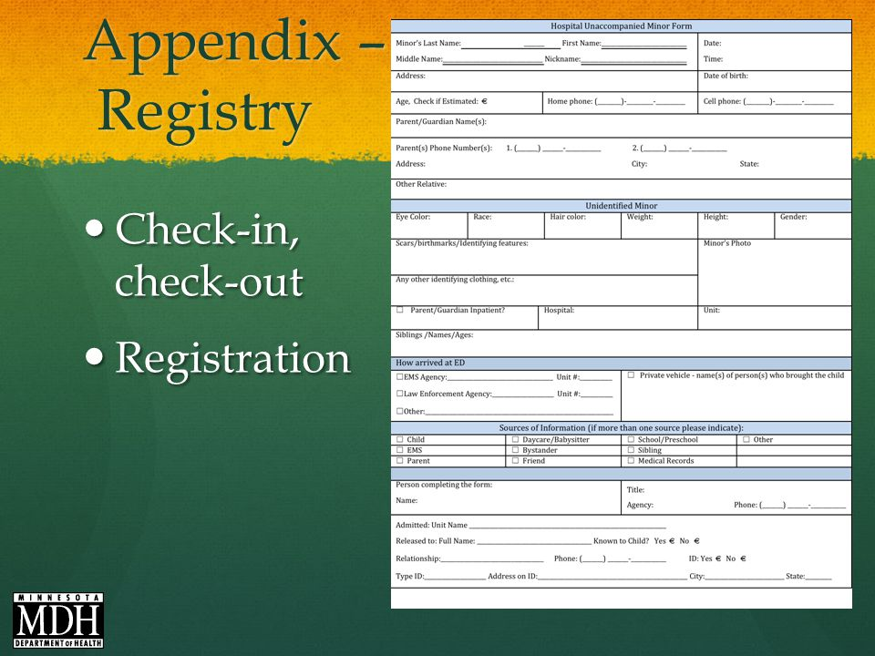 Appendix – Registry Check-in, check-out Check-in, check-out Registration Registration