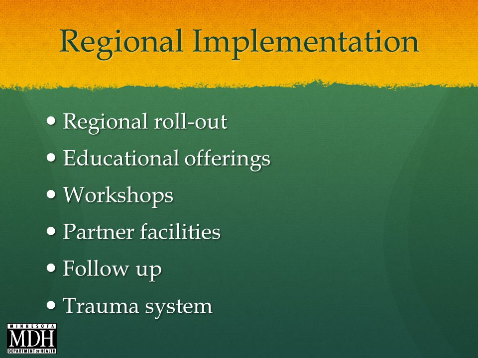Regional Implementation Regional roll-out Regional roll-out Educational offerings Educational offerings Workshops Workshops Partner facilities Partner facilities Follow up Follow up Trauma system Trauma system