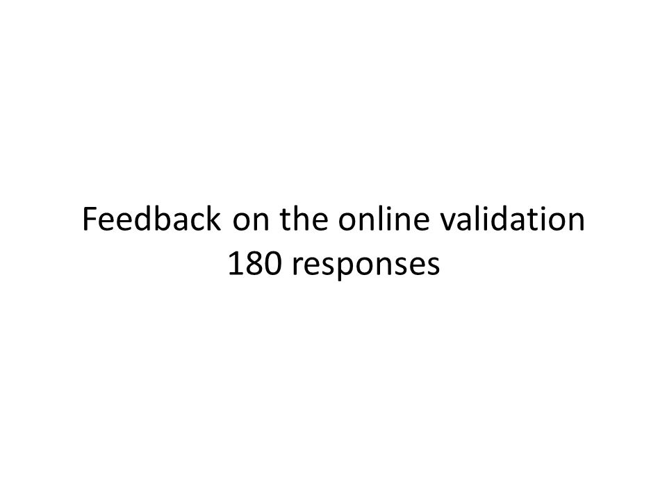 Feedback on the online validation 180 responses