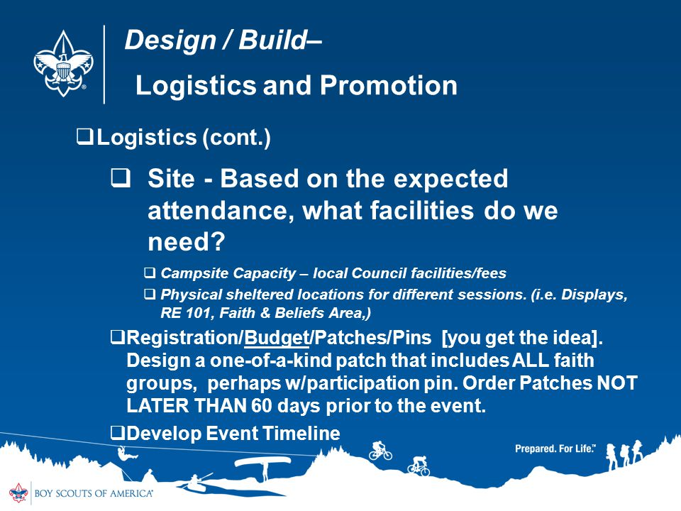 Design / Build– Logistics and Promotion Logistics (cont.) Site - Based on the expected attendance, what facilities do we need? Campsite Capacity – loc