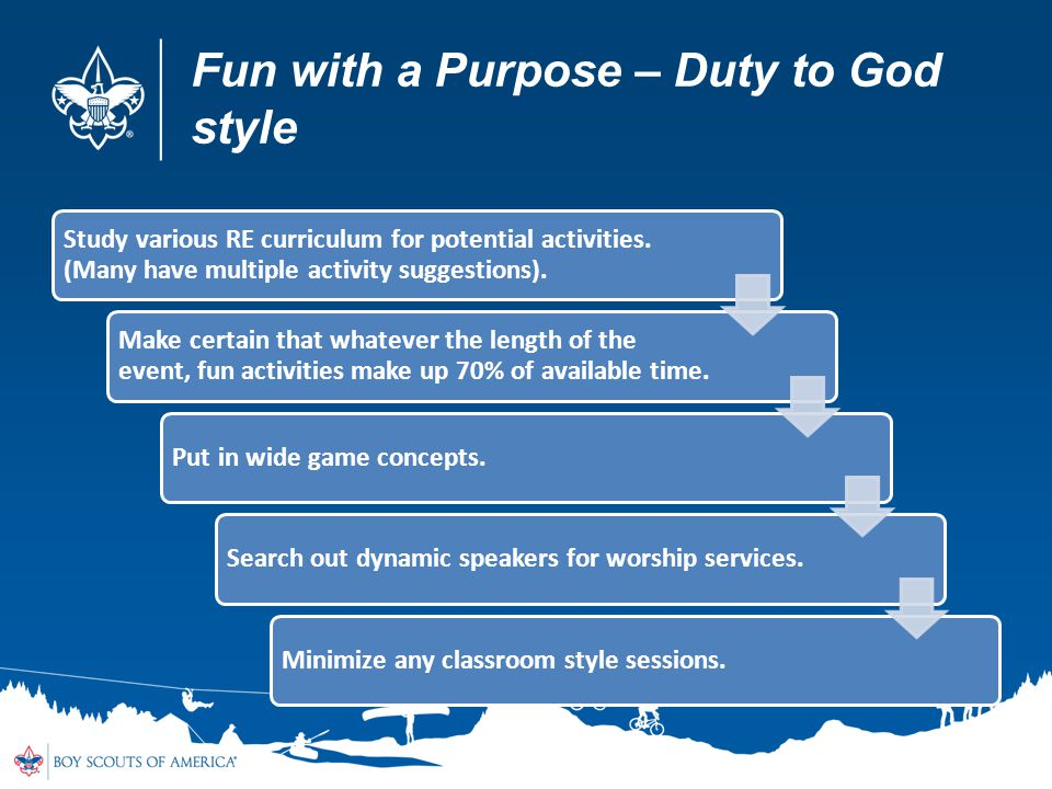 Fun with a Purpose – Duty to God style Study various RE curriculum for potential activities.