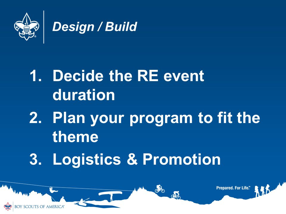Design / Build 1.Decide the RE event duration 2.Plan your program to fit the theme 3.Logistics & Promotion