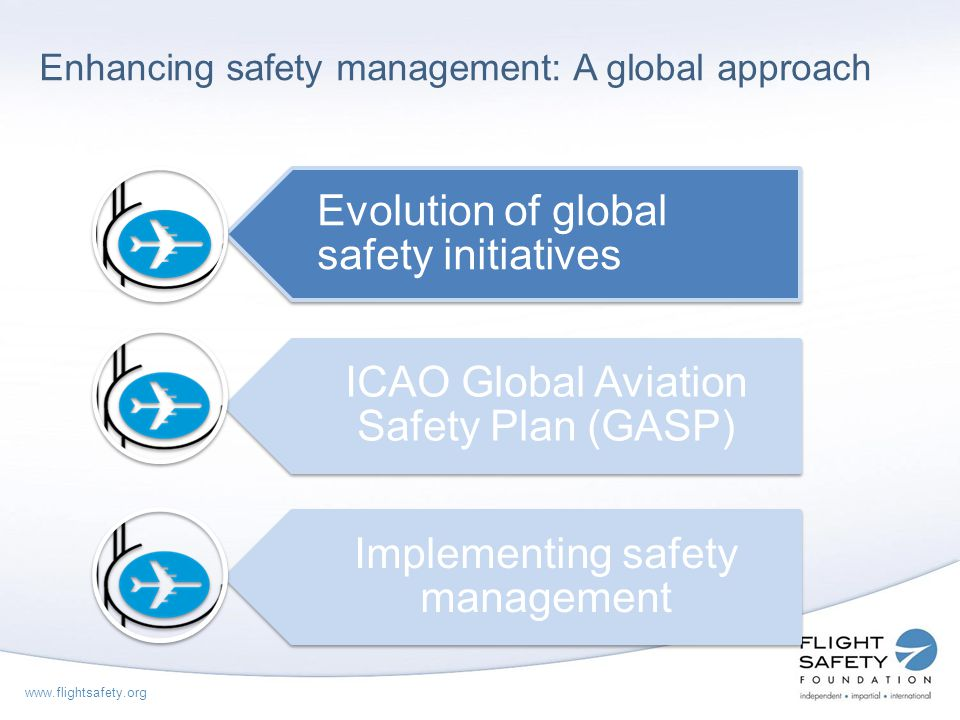 www.flightsafety.org Evolution of global safety initiatives Large number of aviation accidents and fatalities 1996 Expected growth in international civil aviation would result in an increasing number of aircraft accidents unless the accident rate is reduced.