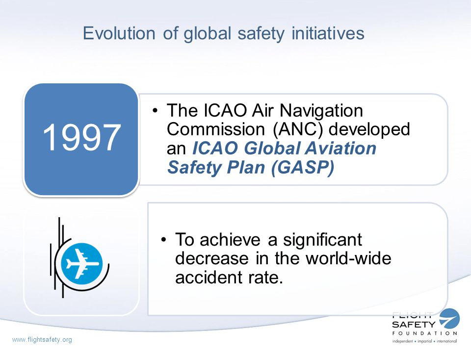 www.flightsafety.org Implementing effective safety oversight ESTABLISH IMPLEMENT CE1: LEGISLATION CE2: REGULATIONS CE3: ORGANISATION CE4: TECHNICAL STAFF & QUALIFIED TRAINING CE5: TECHNICAL GUIDANCE & TOOLS CE6: LICENSING, CERTIFICATION, APPROVAL CE7: CONTINUOUS SURVEILLANCE CE8: RESOLUTION OF SAFETY CONCERNS Critical elements of a State safety oversight system