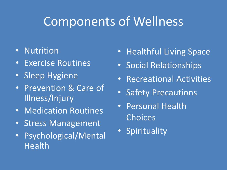 Components of Wellness Nutrition Exercise Routines Sleep Hygiene Prevention & Care of Illness/Injury Medication Routines Stress Management Psychological/Mental Health Healthful Living Space Social Relationships Recreational Activities Safety Precautions Personal Health Choices Spirituality