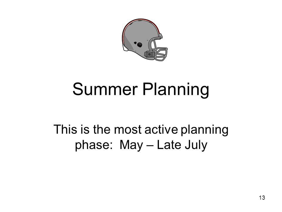 Summer Planning This is the most active planning phase: May – Late July 13