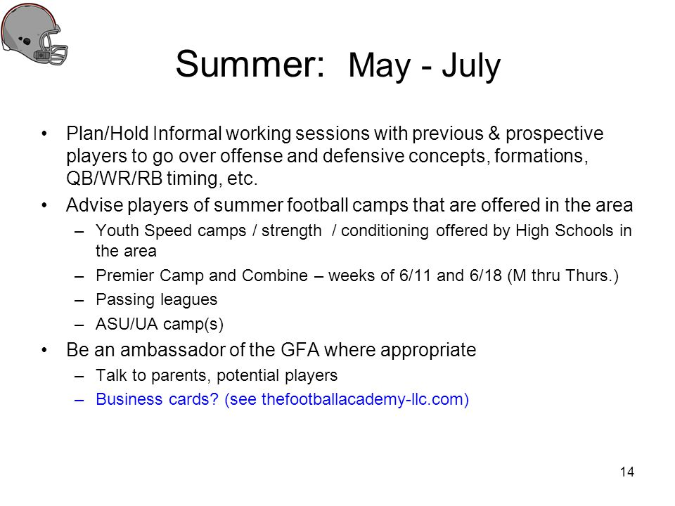 Summer: May - July Plan/Hold Informal working sessions with previous & prospective players to go over offense and defensive concepts, formations, QB/W