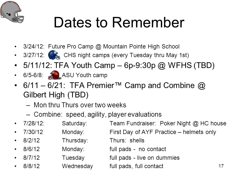 Dates to Remember 3/24/12: Future Pro Camp @ Mountain Pointe High School 3/27/12: CHS night camps (every Tuesday thru May 1st) 5/11/12: TFA Youth Camp