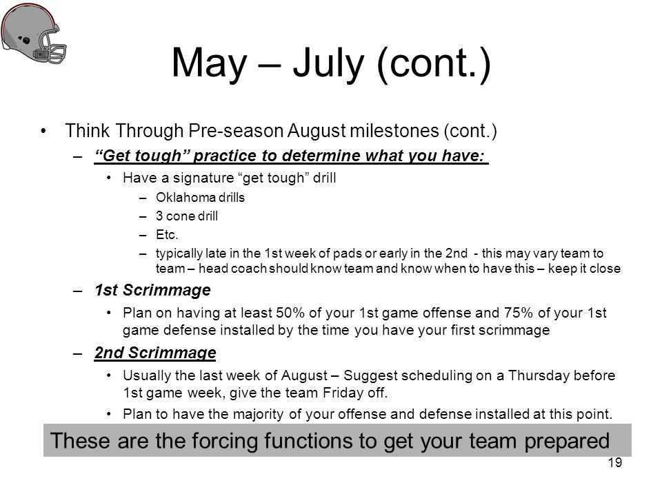 May – July (cont.) Think Through Pre-season August milestones (cont.) –Get tough practice to determine what you have: Have a signature get tough drill