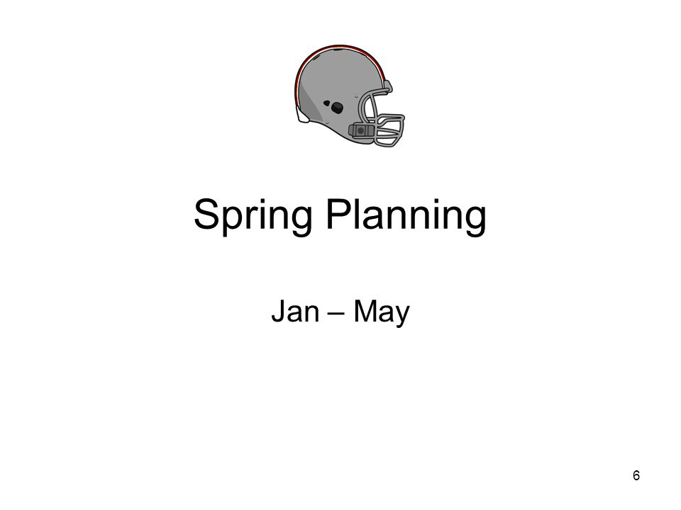 Spring (Jan – May) Jan - March: Prepare for Head Coach interviews March - May: HC candidates to be interviewed March -June: Head Coaches selected Once selected as a head coach –Head Coach to interview, select, propose and agree on roles and responsibilities for assistant coaches and business manager(s) – see next slide –Entire staff to discuss and agree upon philosophies (offensive, defensive, who will coach coachs sons, etc.) Decide on how to get offensive plays in the game –Wristband, hand signals, messengers, etc.