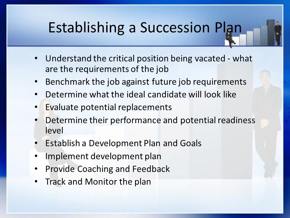 Establishing a Succession Plan Understand the critical position being vacated - what are the requirements of the job Benchmark the job against future job requirements Determine what the ideal candidate will look like Evaluate potential replacements Determine their performance and potential readiness level Establish a Development Plan and Goals Implement development plan Provide Coaching and Feedback Track and Monitor the plan