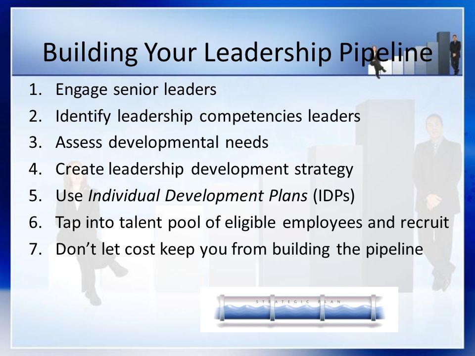 Building Your Leadership Pipeline 1.Engage senior leaders 2.Identify leadership competencies leaders 3.Assess developmental needs 4.Create leadership