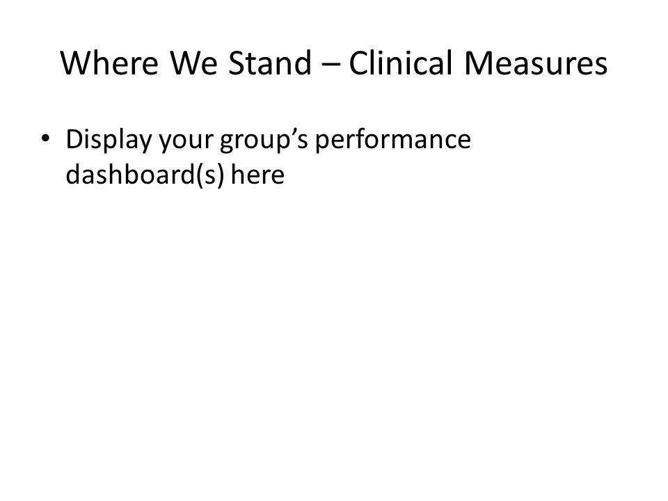 Where We Stand – Clinical Measures Display your groups performance dashboard(s) here