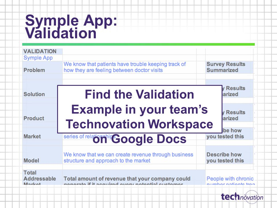 Symple App: Validation Find the Validation Example in your teams Technovation Workspace on Google Docs