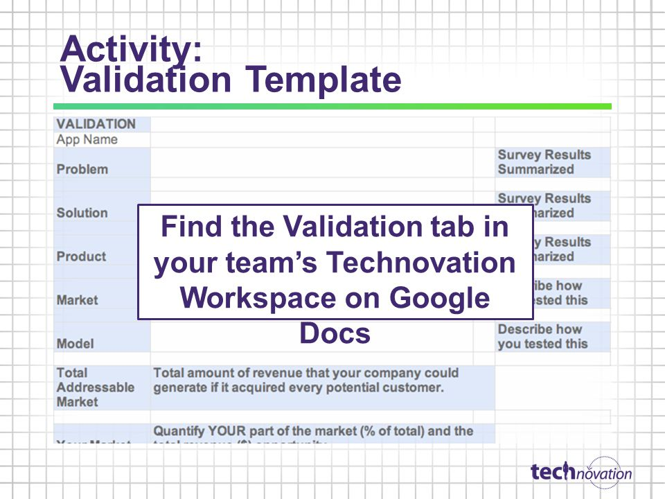 Activity: Validation Template Find the Validation tab in your teams Technovation Workspace on Google Docs