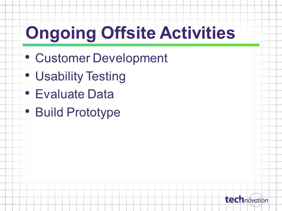Ongoing Offsite Activities Customer Development Usability Testing Evaluate Data Build Prototype
