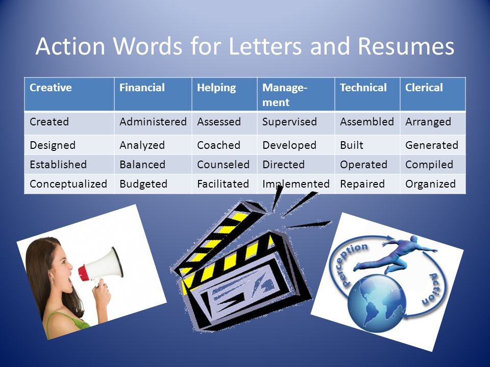 Action Words for Letters and Resumes CreativeFinancialHelpingManage- ment TechnicalClerical CreatedAdministeredAssessedSupervisedAssembledArranged Des
